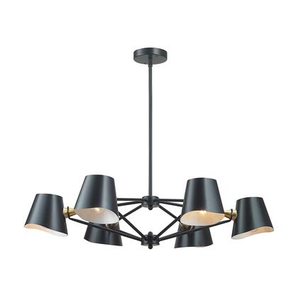 1141-018 Webre 6-Light Chandelier in Matte Black and Gold