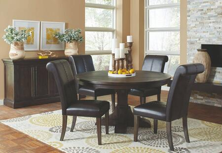 Weber Collection 107280-S6-82B 6-Piece Dining Room Set with Round Dining Table  4 Faux Leather Upholstered Side Chairs and Server in Smokey