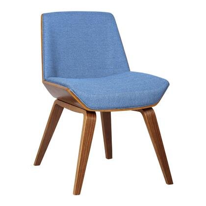 Agi Collection LCAGSIBLUE Side Chair with Mid-Century Style  Tapered Legs  Waterfall Seat Edge  Walnut Veneer Material and Fabric Upholstery in Blue