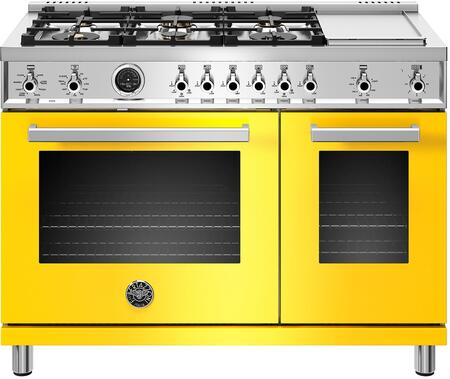 PROF486GDFSGIT Range with 6 Burners and Griddle  Double Ovens with Self Clean and Dual Convection Fans  in Giallo