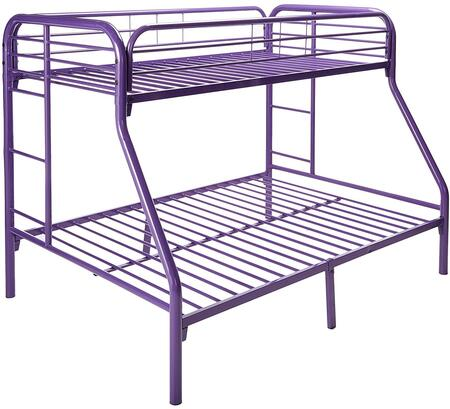 45023TFPU Twin Over Full Metal Bunk Bed with Built in Ladder  Slat Headboard and Footboard in