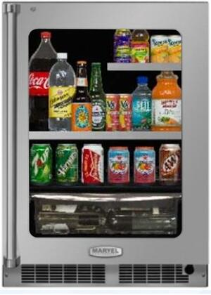 Marvel MP24BR4R 24 Wide 20-Bottle and 162-Can Built-in Beverage Center with LED, Stainless Frame Glass Door