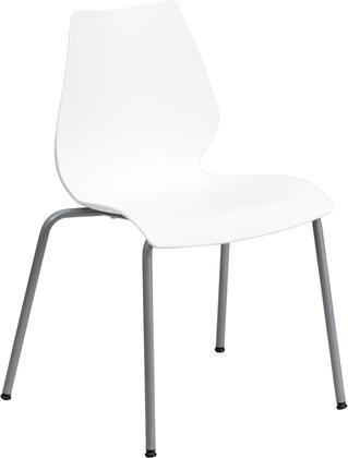 RUT-288-WHITE-GG HERCULES Series 770 lb. Capacity White Stack Chair with Lumbar Support and Silver