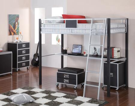 LeClair 46028TBCCH 3-Piece Bedroom Set with Twin Loft Bed  Cabinet and Chest in Silver and