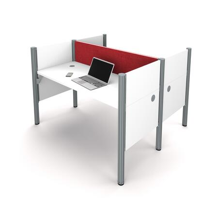 100870CR-17 Pro-Biz Double face to face workstation in White with Red Tack