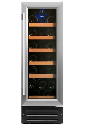 RW58SR 12 inch  Single Wine Cooler with 19 Bottle Capacity  Low Profile Wood Accented Wine Shelf  Double Paned UV Shielded Glass Door with Stainless Steel