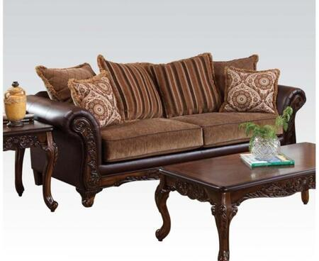 Fairfax Collection 52365 93 inch  Sofa with Wood Frame  Made in USA  Loose Cushions  Accents Pillows Included and Bonded Leather Upholstery in Bomber Chocolate