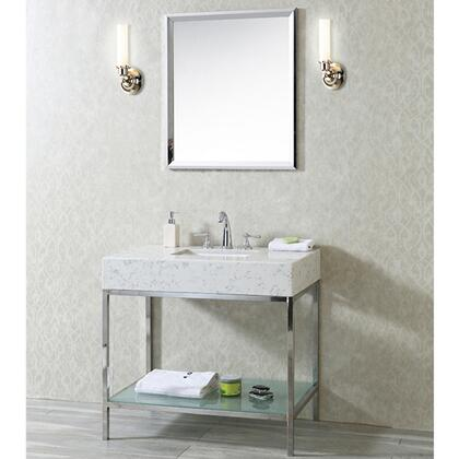 SC-BRI-36-PSS-CQ Brightwater 36 inch  Single Sink Vanity Set with Quartz Top  Bottom Shelf and Mirror in Polished Stainless