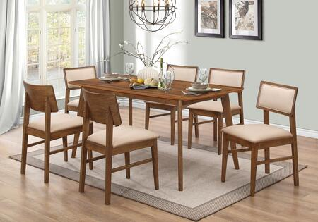 Sasha Collection 107251TC 7 PC Dining Room Set with Dining Table + 6 Side Chairs in Walnut