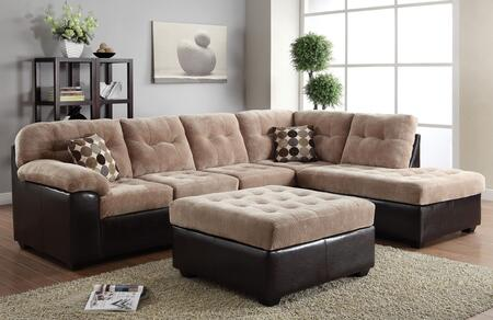 Layce 50535SO 2 PC Living Room Set with Sectional Sofa + Ottoman in Camel Champion and Espresso