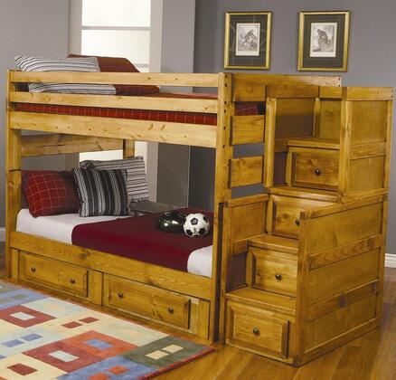 460096SC Wrangle Hill Full Over Full Bunk Bed + Stairway Chest in Amber Wash