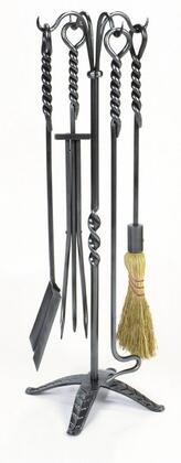 WR-02 5 PC 32 inch H Rope Fireplace Tool Set with Nifty Stand  Poker  Shovel  Pair of Tongs and Broom in Graphite