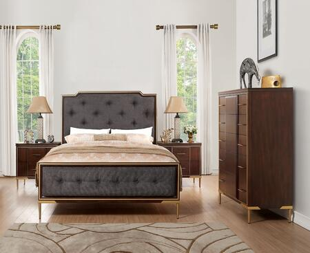 Eschenbach Collection 25954CK4SET 4 PC Bedroom Set with California King Size Bed  Chest and 2 Nightstands in Dark Brown