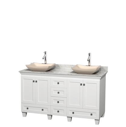 Wcv800060dwhcmgs2mxx 60 In. Double Bathroom Vanity In White  White Carrera Marble Countertop  Avalon Ivory Marble Sinks  And No