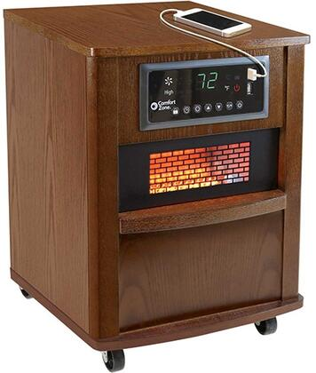 """CZ2062W 13"""" Infrared Heater with 5120 BTU. Digital Thermostat with Auto On/Off Timer Washable Air Filter Built-In USB Charger Ports Casters and Wood Case"""