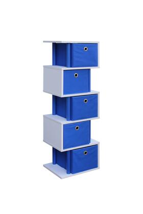 Santa Monica Collection 99322 Zig Zag Storage with 5 Canvas Drawers and Color Coordinated Decorative Plastic Piping in Ocean