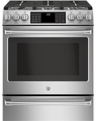 C2S986SELSS 30 inch  Slide In Front Dual-Fuel Range with Warming Drawer  Edge-to-Edge Six Burner Cooktop  21 000 BTU Multi-Ring Burner  Wi-Fi Connect  and Chef