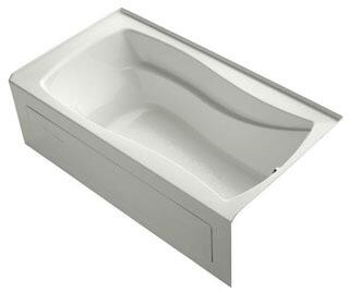 K-1229-RAW-NY Dune 66x36x20 Alcove Apron-Front Acrylic Soaking Bath Tub With Bask Heated Surface  Tile Flange And Right