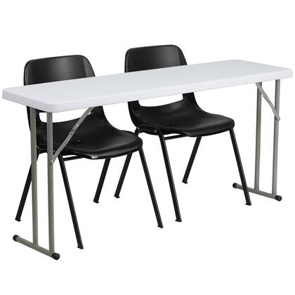 RB-1860-2-GG 18'' x 60'' Plastic Folding Training Table with 2 Black Plastic Stack