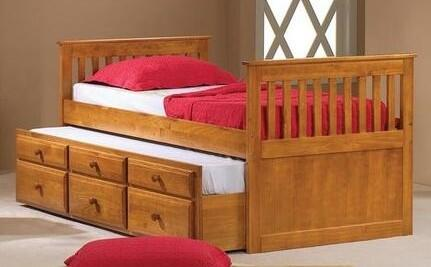 103TH Mission Captains Twin Trundle Bed with 3 Drawers  Simple Pulls and Pull Out Trundle in Honey
