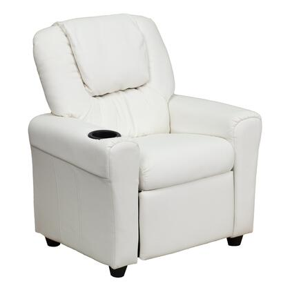 DG-ULT-KID-WHITE-GG Contemporary White Vinyl Kids Recliner with Cup Holder and 295349