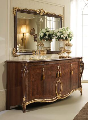 """DONATELLOBUFFET_82""""_Buffet_with_4_Doors__Carved_Detailing_and_Molding_Details_in_Walnut"""