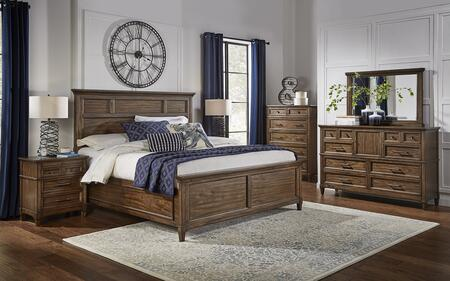 Harborside Collection HABSVQPBDMNC 5-Piece Bedroom Set with Queen Panel Bed  Dresser  Mirror  Nightstand and Chest in Savannah Brown 912329