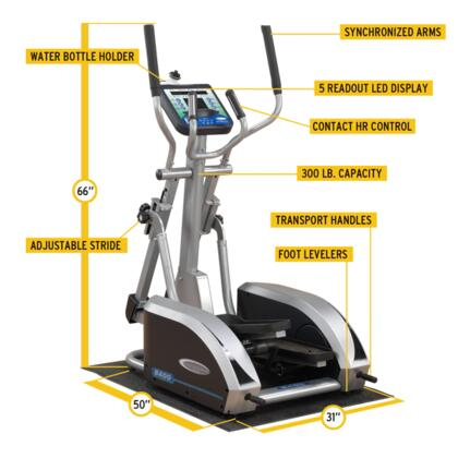 E400 Endurance Elliptical Trainer with 5-Readout LED Display and Contact Heart Rate Monitor  Adjustable