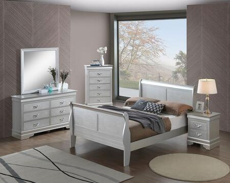 G6500A-FBBDMNC 5-Piece Bedroom Set with Full Size Bed + Dresser + Mirror + Nightstand + Chest Drawer  in Silver