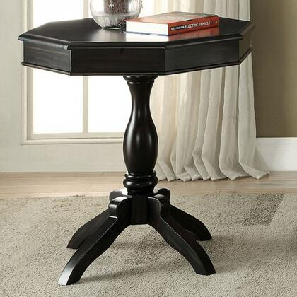 Iliana CM-AC6442BK Octagon Accent Table with Transitional Style  Pedestal Design  Octagon Table Top  Solid Wood/Others in Antique