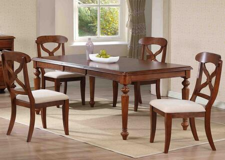 Andrews Collection DLU-ADW4276-C12-CT5PC 5-Piece Dining Room Set with Butterfly Leaf Dining Table and 4x Side Chairs in Distressed Chestnut