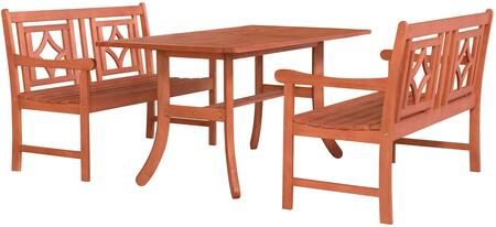 Malibu Collection V189SET43 3 PC Outdoor Patio Dining Set with 2 Benches  Rectangular Shaped Table  Umbrella Hole  Rustic Style and Eucalyptus Solid Wood