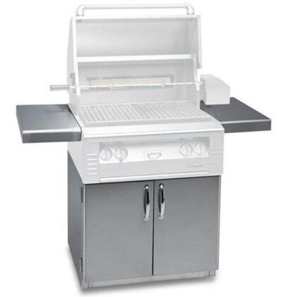 AL-30C 30 Freestanding Grill Cart with 2 Access Doors  2 Side Shelves  and Caster Wheels in Stainless