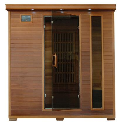 SA1318 Klondike 4 Person Cedar Infrared Sauna with 7 Carbon Heaters  Bronze Tinted Tempered Glass Door  Oxygen Ionizer  EZTouch Cortrol Panel  CHROMOTHERAPY