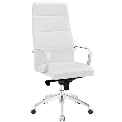 Stride Collection EEI-2120-WHI Office Chair with Adjustable Height  Swivel Seat  Polished Aluminum Base  Five Dual-Wheel Nylon Casters  Chrome Steel Frame and