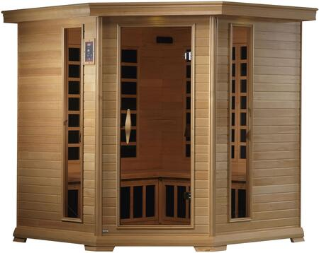 GDI-6445-01 77 inch  Near Zero EMF Far Infrared Corner Sauna with 4-5 Person Capacity  12 Carbon Heating Elements  Tempered Glass Door  Chromotherapy Lighting and