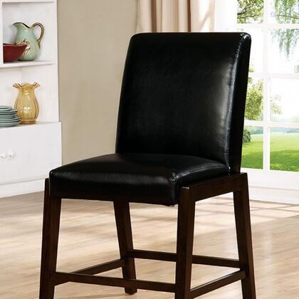 Belinda II Collection CM3357PC-2PK Set of 2 Counter Height Chair with Contemporary Style  Solid Wood/Wood Veneer/Others  Black Padded Leatherette Chairs in