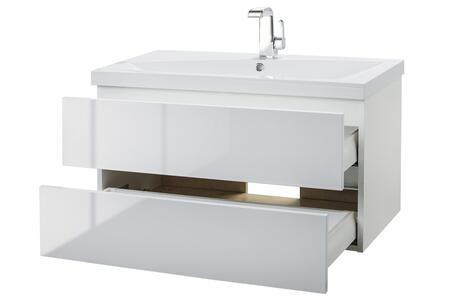 Sangallo Collection FVBLANCO36 36 inch  Wall Mount Single Sink Vanity with 2 Soft Close Drawers in Gloss