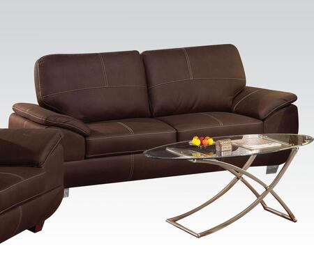 Corliss Collection 51670 Sofa with Stitched Detailing  Padded Arms and Nubuck Upholstery in Dark Brown