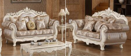 Serena 691-S-L 2 Piece Living Room Set with Sofa and Loveseat in Pearl White