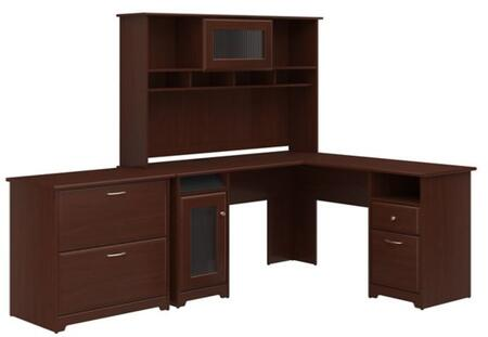 Cabot WC31430-03K-31-80 2-Piece Desk and Hutch Set with Lateral File Cabinet in Harvest