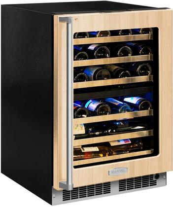 Marvel MP24WD5R 24 Wide 40-Bottle Built-In Dual Zone Wine Cooler with LED Light, Panel Ready Frame Glass Door