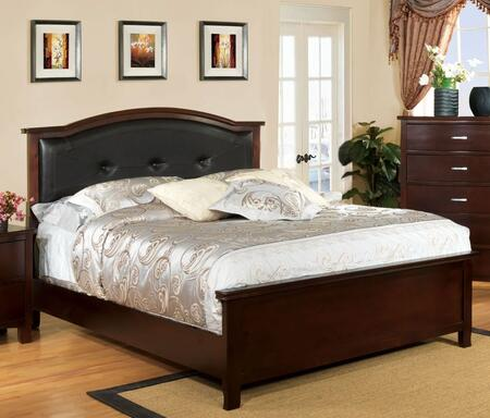 Crest View Collection CM7599F-BED Full Size Bed with Padded Leatherette Headboard  Replicated Wood Grain and Solid Wood Construction in Brown Cherry