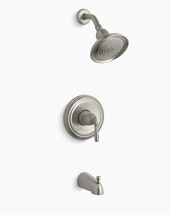 Devonshire K-TS395-4S-BN Rite-Temp Bath and Shower Valve Trim with Lever Handle  Slip-Fit Spout and 2.5 GPM Showerhead in Vibrant Brushed