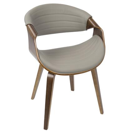 CH-SYMP WL+LGY Symphony Mid-Century Modern Dining / Accent Chair in Walnut Wood and Grey