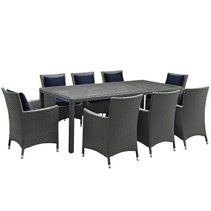 Sojourn Collection EEI-2309-CHC-NAV-SET 9-Piece Outdoor Patio Sunbrella Dining Set with 8 Armchairs and Dining Table in Canvas