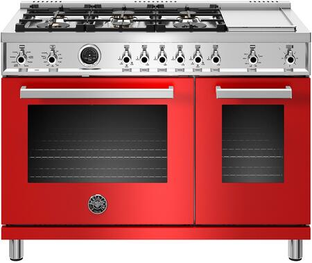 PROF486GDFSROT with 6 Burners and Griddle  Double Ovens with Self Clean and Dual Convection Fans  in Rosso