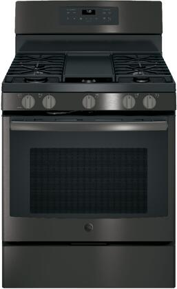 GE 5.0 Cu. Ft. Freestanding Gas Convection Range Black stainless steel JGB700BEJTS
