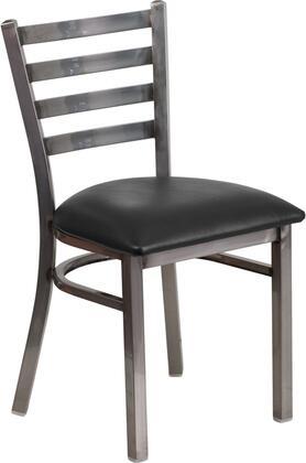 XU-DG694BLAD-CLR-BLKV-GG HERCULES Series Clear Coated Ladder Back Metal Restaurant Chair - Black Vinyl