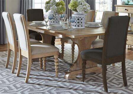 Harbor View Collection 531-DR-O5TRS 5-Piece Dining Room Set with Trestle Table and 4 Upholstered Side Chairs in Sand